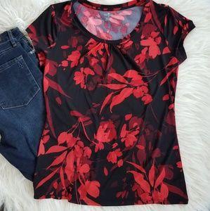 Worthington Med red&black short sleeve blouse